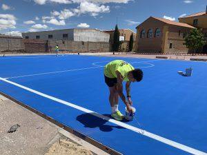 pintado de marcaje de pista deportiva